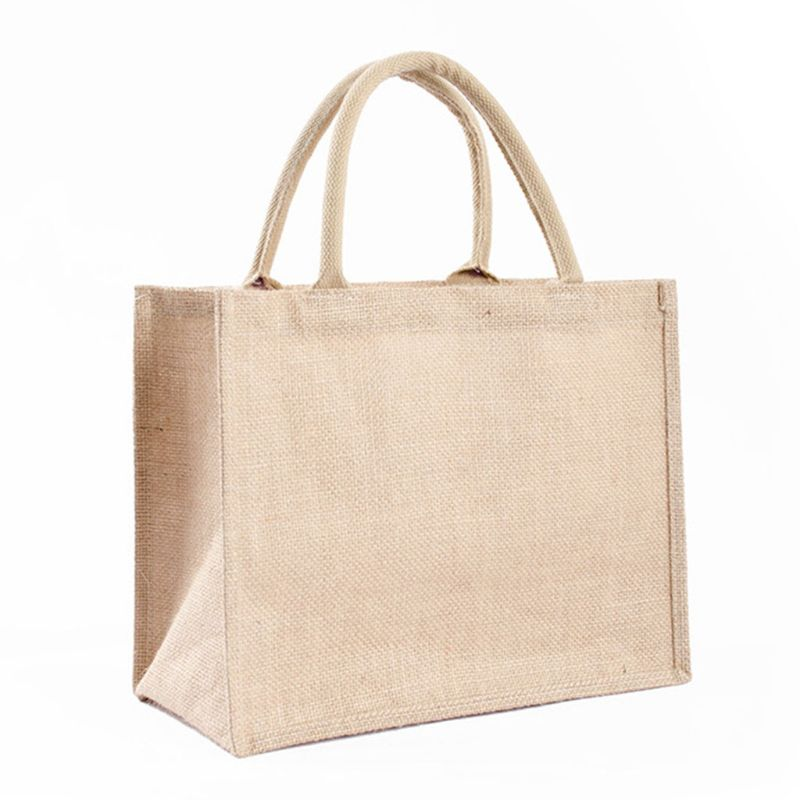 Portable Jute Reusable Tote Shopping Bag Grocery Organizer Storage Pouch