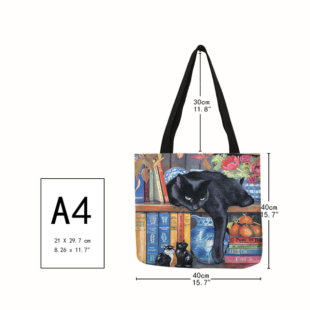 Oil Painting Cat Print Women Tote Bags Linen Reusable Shopping Bag Shoulder Bags for Women 2019  sac a main ladies handbags 2