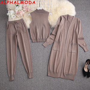 ALPHALMODA Long Cardigans + Turtle Neck Vest + Pants Women Winter Trendy 3pcs Knitting Suit 2020 New Style Ladies Fashion Set