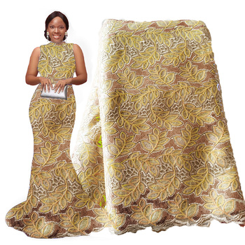 Gold Lace 2020 African Wedding Lace Fabrics Mesh Net Sequin Lace African Bridal Wedding Dress Lace Fabric