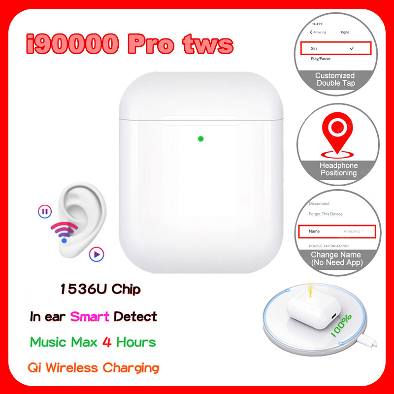 I90000 Pro Tws GPS Umbenennen Drahtlose Kopfhörer 8D Super Bass Wireless Bluetooth Kopfhörer Headset PK i5000 i9000 TWS für iphone