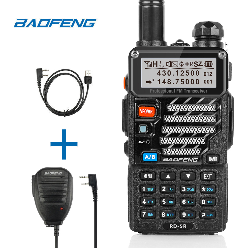 Baofeng RD-5R DMR Tier II VFO Digital Dual Slot Dual Band 136-174/400-470MHz Walkie Talkie Two Way Radio Ham Transceiver Speaker