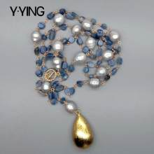 Y·YING Blue Kyanites Gray Rice freshwater Pearl statement Necklace Teardrop Brushed Gold Plated Pendant 21