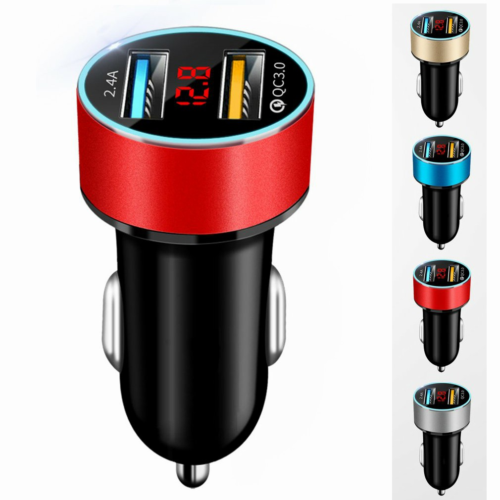 Adapter Charger Vehicle Digital Smart-Phone/Tablet Dual-Usb Auto Led-Voltage/current-Display title=