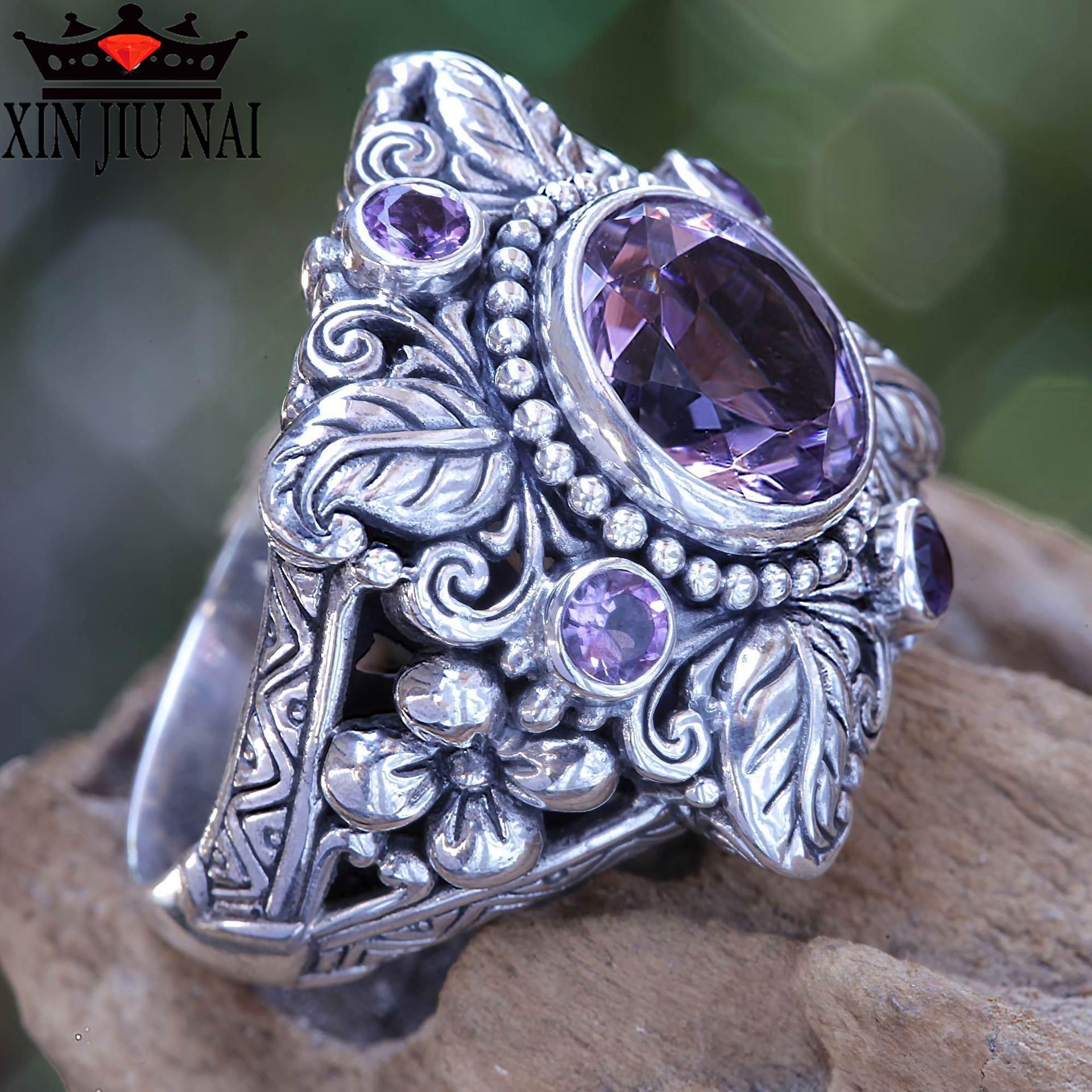 925 libras esterlinas de prata Do Vintage Thai Prata Folha Em Forma de Flor Cor Grande Anel De Cristal para a Mulher com Roxo CZ Pedra ametista anel
