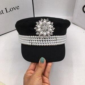 Image 4 - Casquette en tissu pour femmes, casquette en tissu, automne et hiver Europe et états unis, petite casquette à perles, marine, style newsboy