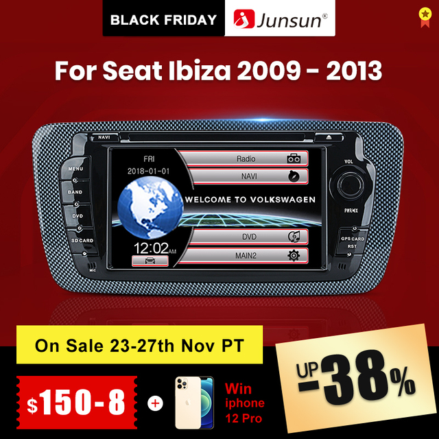 Junsun 2 dvd座席イビサ2009 2010 2011 2012 2013アンドロイド9.0 gpsナビゲーション2ギガバイト + 32ギガバイトのオプション