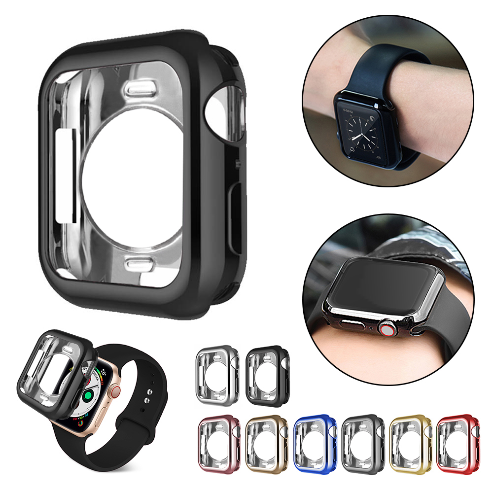 New anti-fall plating soft silicone sleeve for <font><b>Apple</b></font> <font><b>Watch</b></font> 40mm 44mm iWatch series 1 2 <font><b>3</b></font> 4 5 housing protection 42mm <font><b>38mm</b></font> image