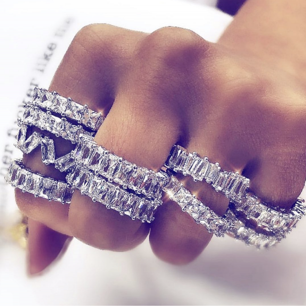 16 Style Hip Hop Pave Diamond Band Ring Set Luxury 925 Sterling Silver Cocktail Party Wedding Rings For Women Men Jewelry