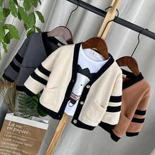 2021 Children Sweaters Baby Boys Knit Cardigan Jacket Spring Autumn Kids Outerwear Cotton Boy's Sweater Cardigan 1-4Y