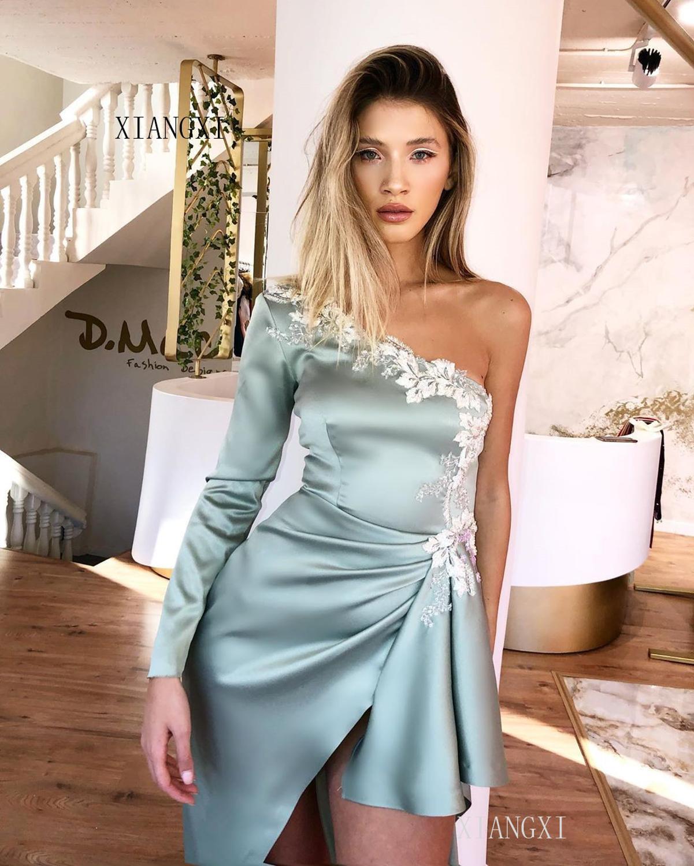 Vestido de festa Evening Dress Satin One Shoulder Long Sleeves Evening Dresses Formal Gowns robe de soiree Party Dress
