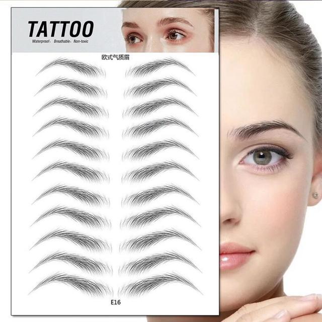 O. tw o.o 4d cabelo como sobrancelhas maquiagem à prova dwaterproof água sobrancelha tatuagem adesivo de longa duração natural falso sobrancelha adesivos cosméticos 3