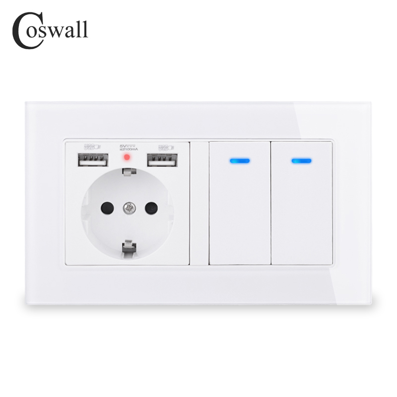 COSWALL Russia Spain EU Standard Wall Socket 2 USB Charge Port + 2 Gang 1 Way On / Off Light Switch LED Indicator Glass Panel