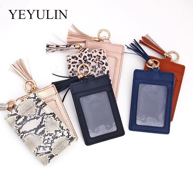 New Ladies PU Wallet Keychain Korean Tassel Small Wallet Solid Color Leopard Buckle Purse Female Short Card Package