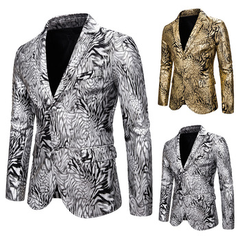 Men's suit slim fit fashion Snake Print gold stamping suit dress performance coat