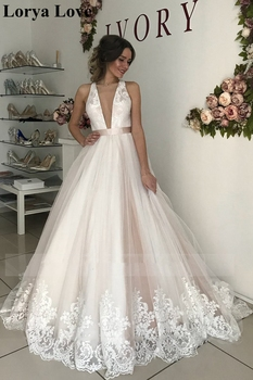 White/Ivory Sexy Boho Beach Wedding Dresses 2020 Summer Plus Size A-Line Backless Tulle Bridal Gowns Elegant Vestidos De Novia
