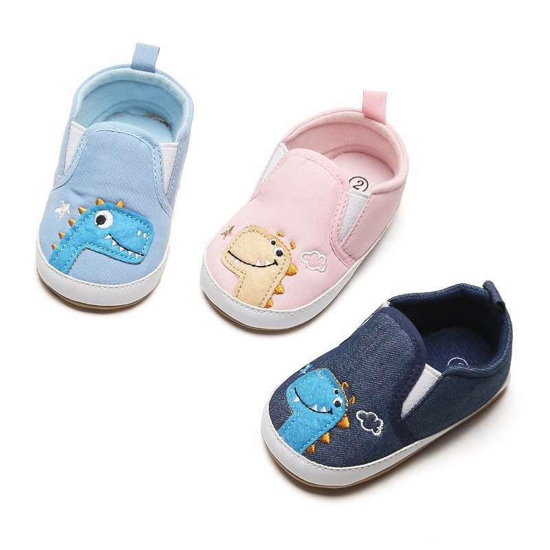 Baby Crib Shoes Dinosaur Infant Boy Girl Shallow Canvas First Walker Toddler Anti-Slip Soft Sole Shoes 3-12 Months