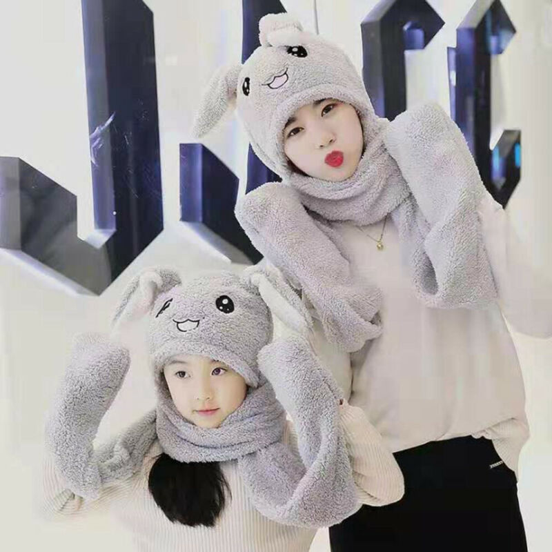 Tiktok Cute Animal Bunny Plush Hat Moving Hat Rabbit Ear Plush Cap Adult / Kids