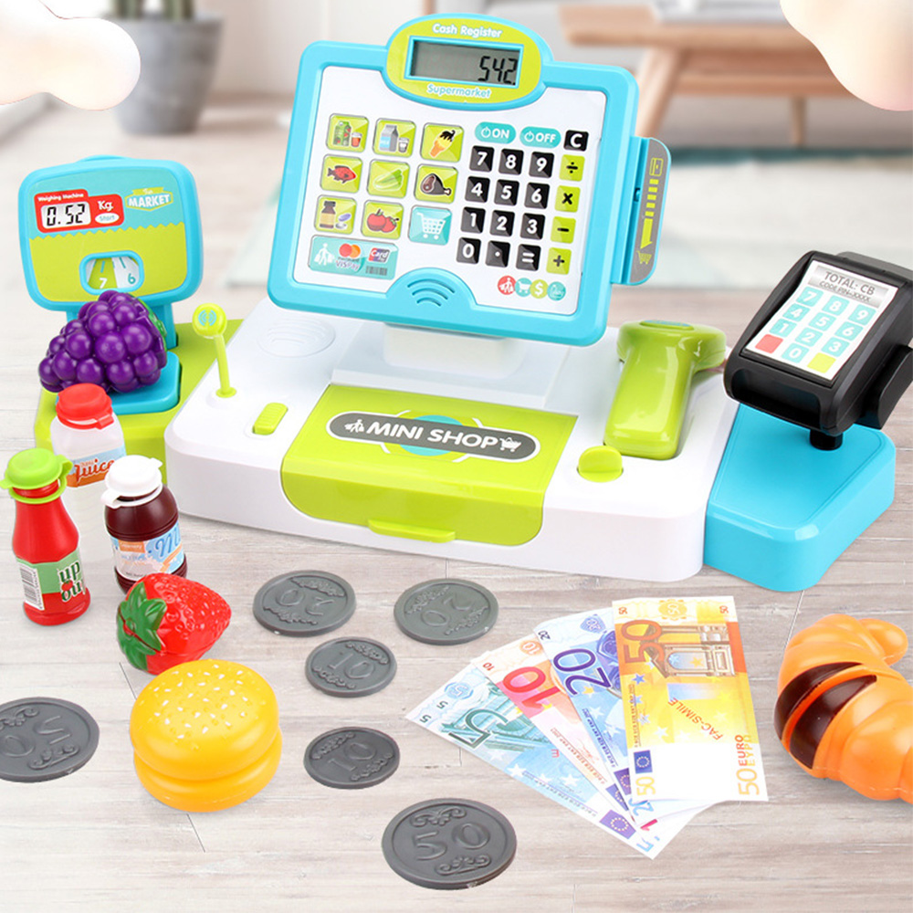 Electronic Supermarket Cash Register Kits Kids <font><b>Toys</b></font> Simulated Checkout Counter Role Pretend Play <font><b>Cashier</b></font> Shopping <font><b>Toys</b></font> image