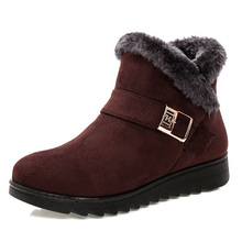 Women Boots Warm Fur Snow Boots Female Ankle Boots For Women Wedge Shoes Woman Warm Fur Winter Boots Suede Footwear Botas Mujer