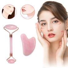Ролик для массажа лица с двумя головками розовый кварц нефрит камень лифтинг для кожи, лица и тела Релаксация для похудения красота уход за здоровьем набор