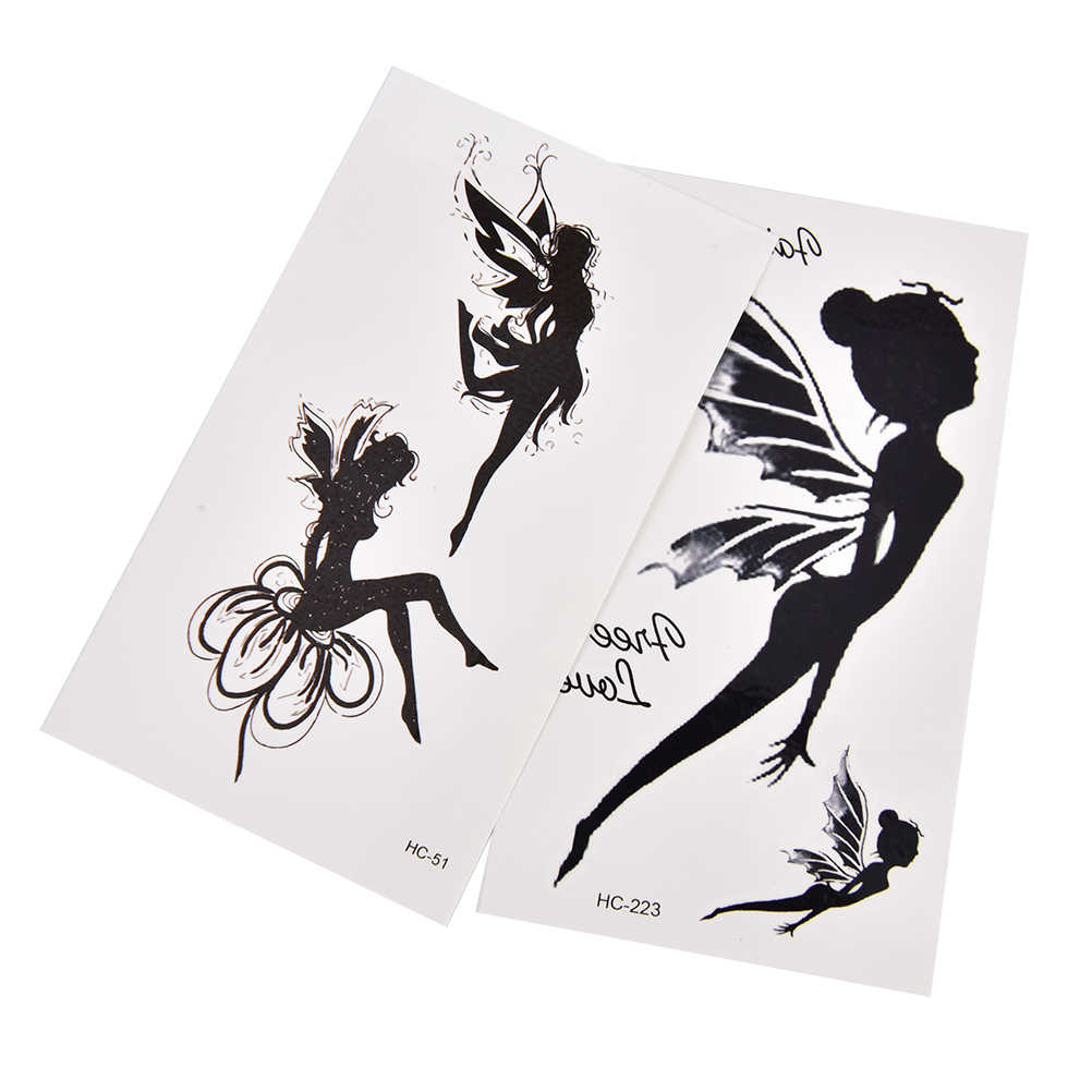 Tatuaje temporal a prueba de agua para chica y Ángel negro, pegatina para brazo, pierna, tatuaje, Henna, Flash falso, Taty Tatto