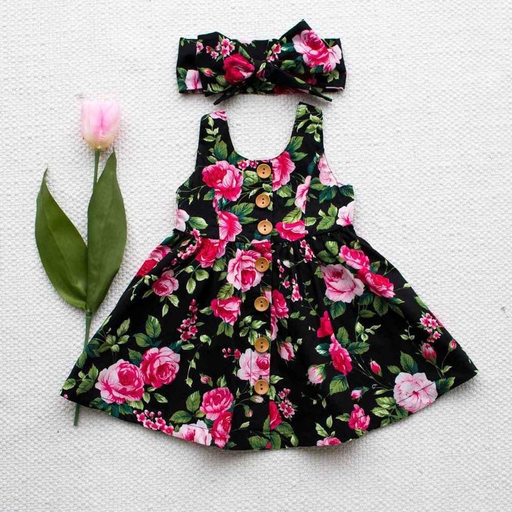 الوليد الطفل بنات فستان الصيف زهرة القوس فساتين ملابس للحفلات عيد ميلاد القطن فتاة الفساتين السوداء الأميرة 2 3 4 سنة