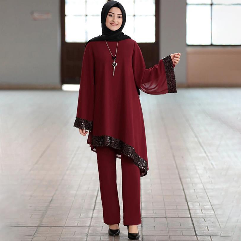 Elegant Two Pieces Muslim Worship Service Robes Suits Sequined Glossy Abaya Robe Tunic Jubah Dubai Ramadan Robes Sets F1548