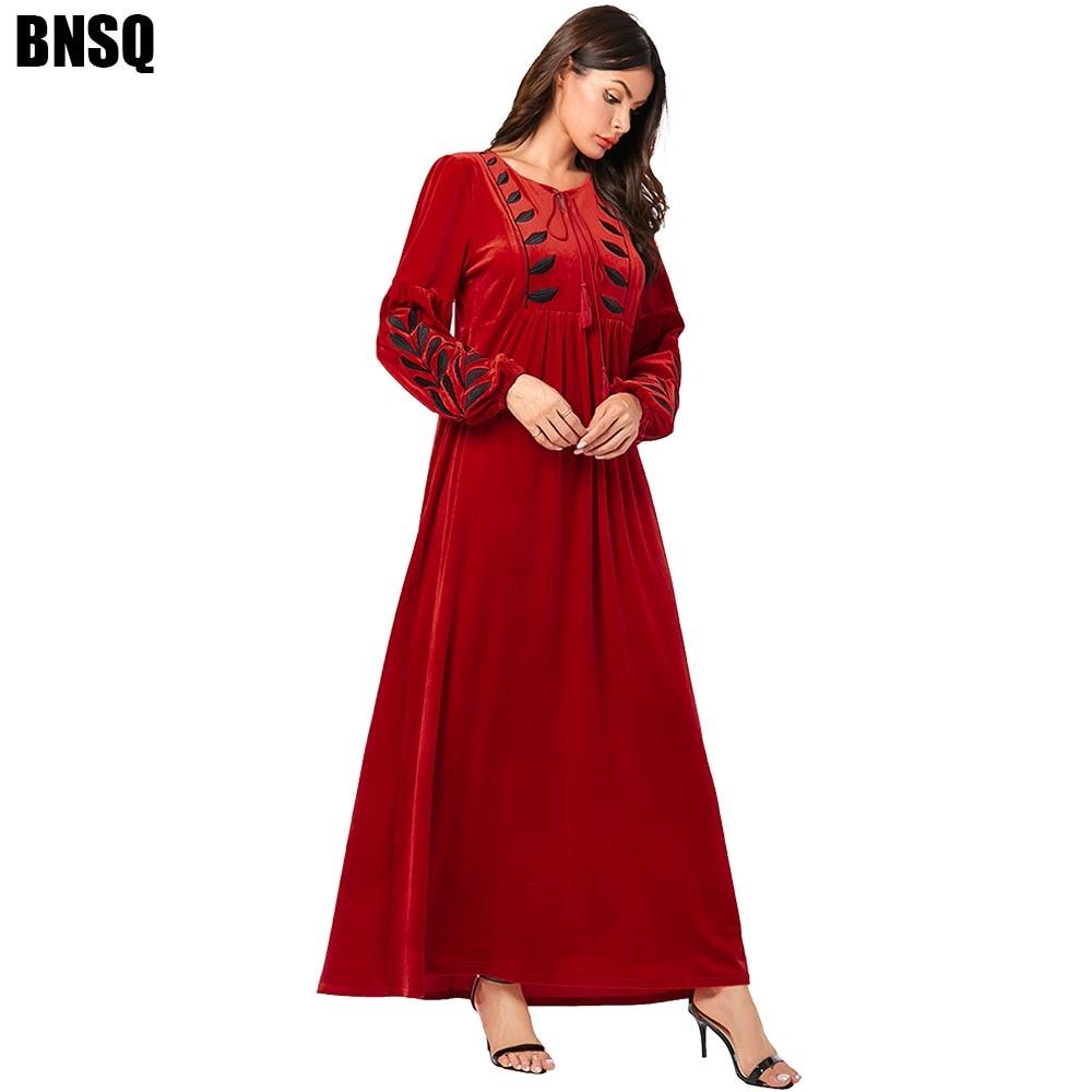 BNSQ Arabian gold velvet embroidered abaya girl casual long sleeve maxi dress winter Muslim Dubai Oma  Caftan kaftan Clothes 4X