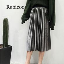 New 2019 autumn and winter high waist tight women velvet skirt in the long paragraph pleated elastic large size