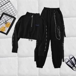 Для женщин грузовые Уличная Брюки в стиле Харадзюку цепочка женщины из двух частей комплекты пряжка для брюк лента карман брюки для девочек...