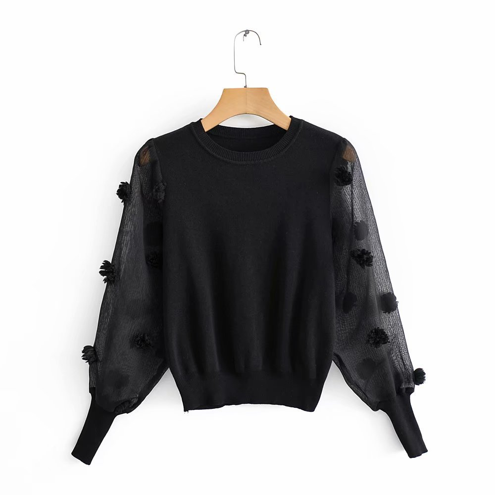 2020 Winter Women's New European Style Zaraing Wholesale Translucent Sleeve Sweater