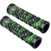 Mountain Bike Bilateral Lock Skull Pattern Non slip Road Bicycle Rubber Handlebar Grip Bicycle Grip Accessories AHPU