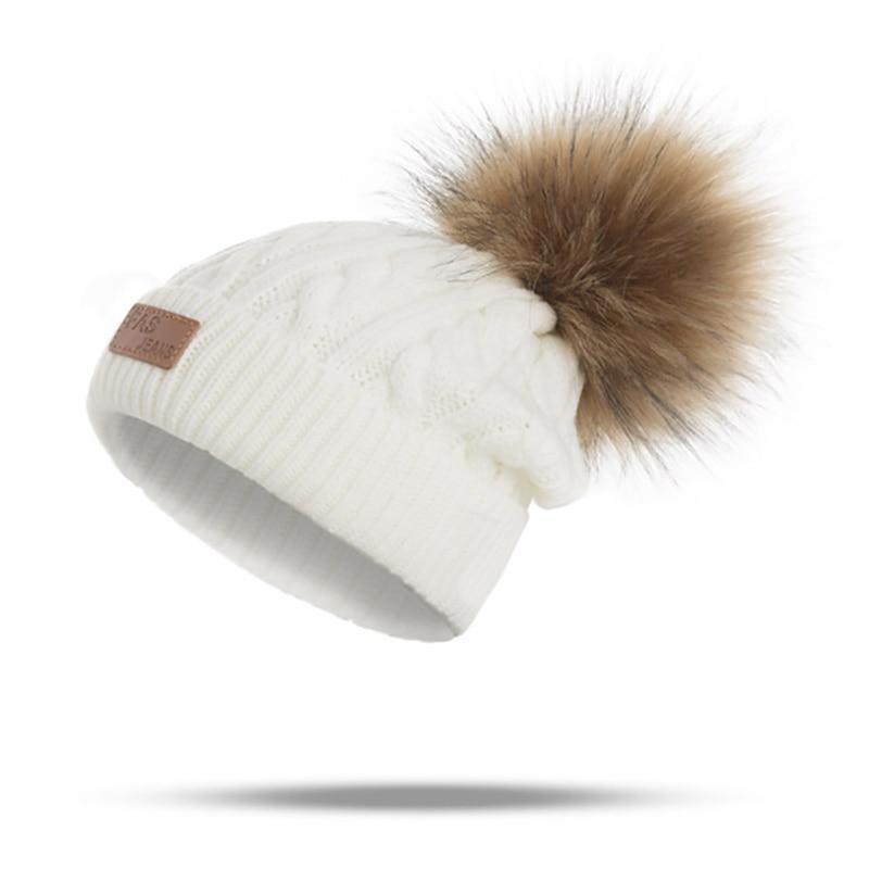MLTBB Women Winter Beanies Hat Thick Knitted Beanie Hats Pompom for Girls Kids Female Skullcap Parent