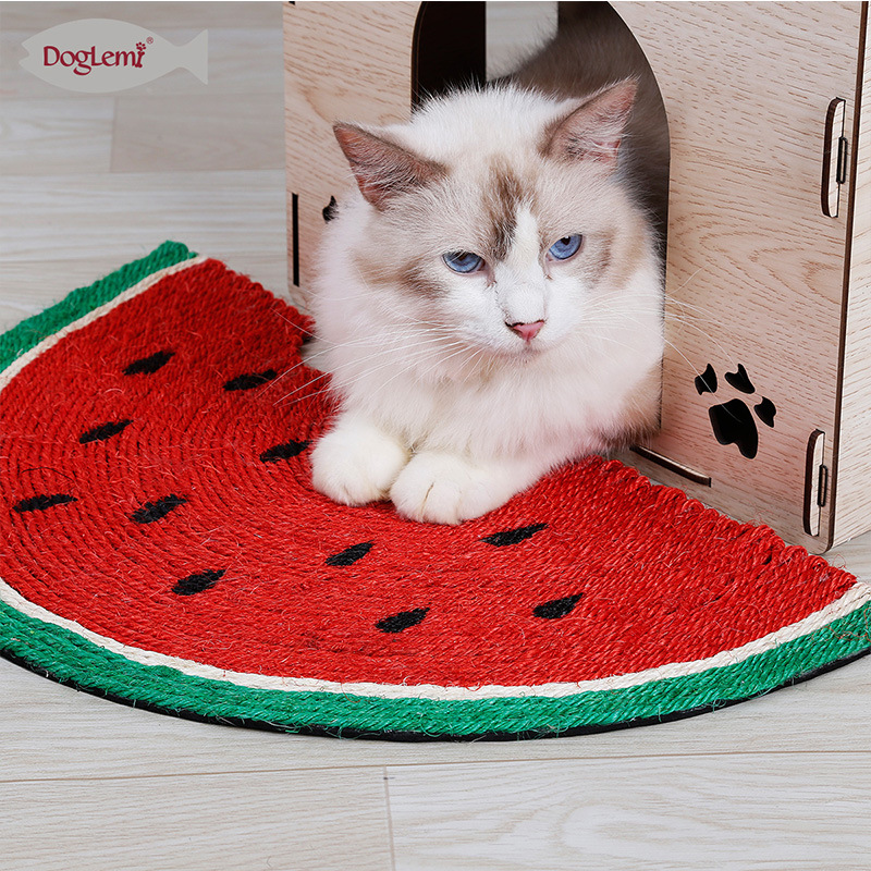 Cat Teaser Toy Natural Sisal Resistant Catch Cat Blanket Cat Claws Grinding Watermelon Toy Cat Supplies Sisal Hemp Carpet