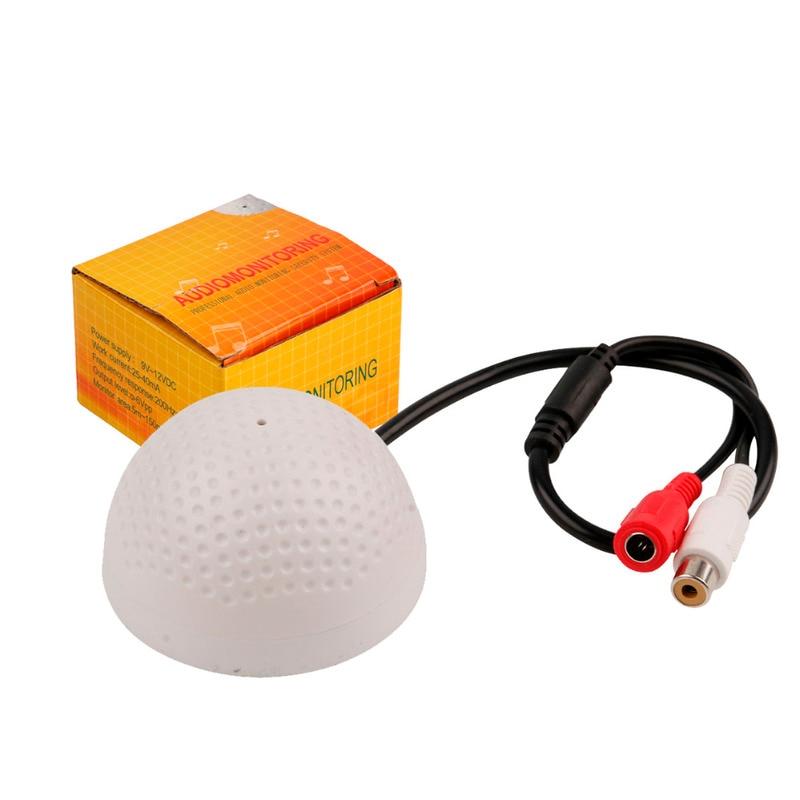 OWGYML CCTV Microphone DC12V Golf Shape Audio Pickup Device High Sensitivity Audio Monitoring Range 10m Audio Monitoring Sound