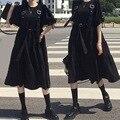 Японское кавайное черное платье средней длины, готическое платье, бандажная юбка на бретельках с оборками на рукавах в стиле ретро, свободн...