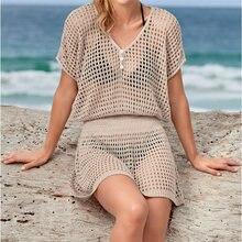 Трикотажное пляжное платье-накидка, парео, купальный костюм, пляжная одежда, парео де Плайя Mujer, бикини, накидка# Q800