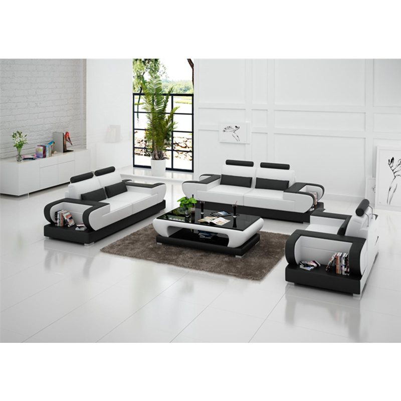 high end modern   living room  1+2+3 sectional genuine leather sofa 3
