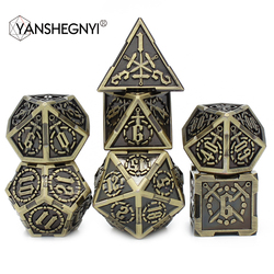 2020 New Design Metal Dice Set Include Pouch for Play Tabletop DnD RPG MTG Games 7pcs D4 D6 D8 D10 D% D12 D20 Set Polyhedral