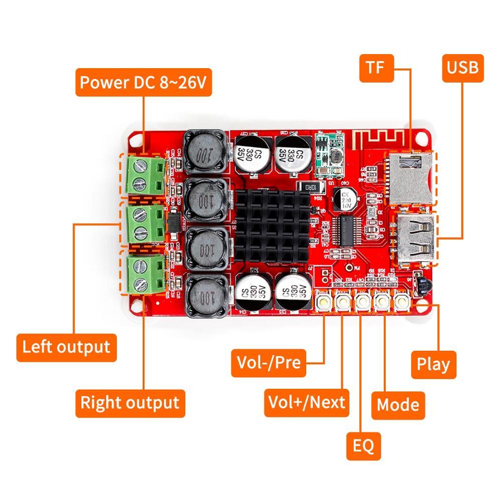 TPA3116 Bluetooth приемник усилитель аудио Плата цифровой U диск TF декодирование с пультом 2X50 Вт Amplificador