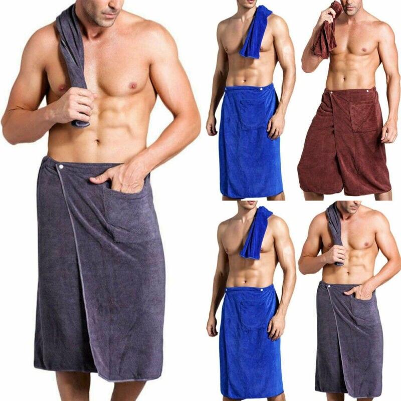 Mens Wearable Microfiber Bath Towel Shower Wrap With Pocket Swimming Spa Blanket