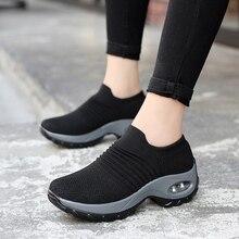Прогулочные женские кроссовки с сеткой; женская обувь; sapato feminino; обувь для бега; chaussures femme sapatos; спортивная обувь без застежки