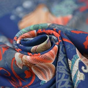 Image 2 - Sea animal print silk fabric quality natural silk double georgette 100cm*140cm