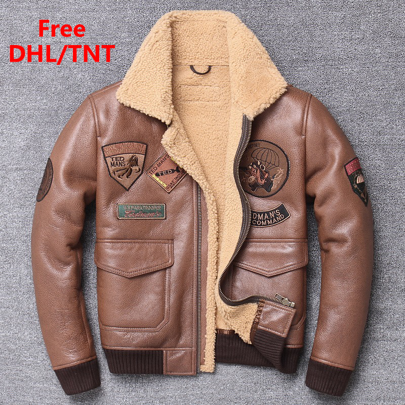 DHL Free Fast Shipping Luxury Brown Men Shearling Flight Jacket Top Gun Air Force Pilot Jackets Wool Liner B3 Bomber Coats