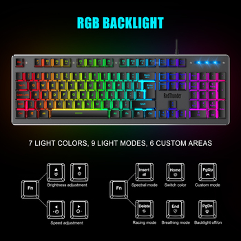 RedThunder K800 RGB Gaming Keyboard and Mouse, Sim-Mechanical Metal Cover, 6400DPI 7 Programmable Button for PC RU ES FR 2