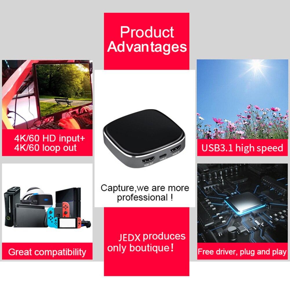 Gaming USB3.0 Streaming en direct 60fps 4K entrée 1080P enregistrement à domicile carte vidéo avec indiquer la lumière HDMI à type-c pour PS3