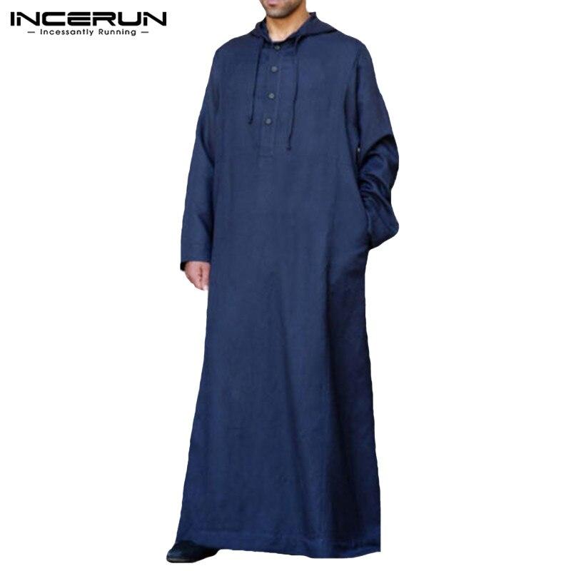 Image 5 - Muslim Robe Hoodies Kaftan Dressing Mens Saudi Arab Dubai Long Sleeve Thobe Arabic Long Islamic Jubba Thobe Man Clothing 2020Islamic Clothing   -