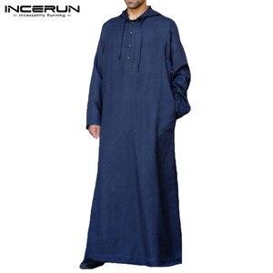 Image 5 - Muslim Robe Hoodies Kaftan Dressing Mens Saudi Arab Dubai Long Sleeve Thobe Arabic Long Islamic Jubba Thobe Man Clothing 2020