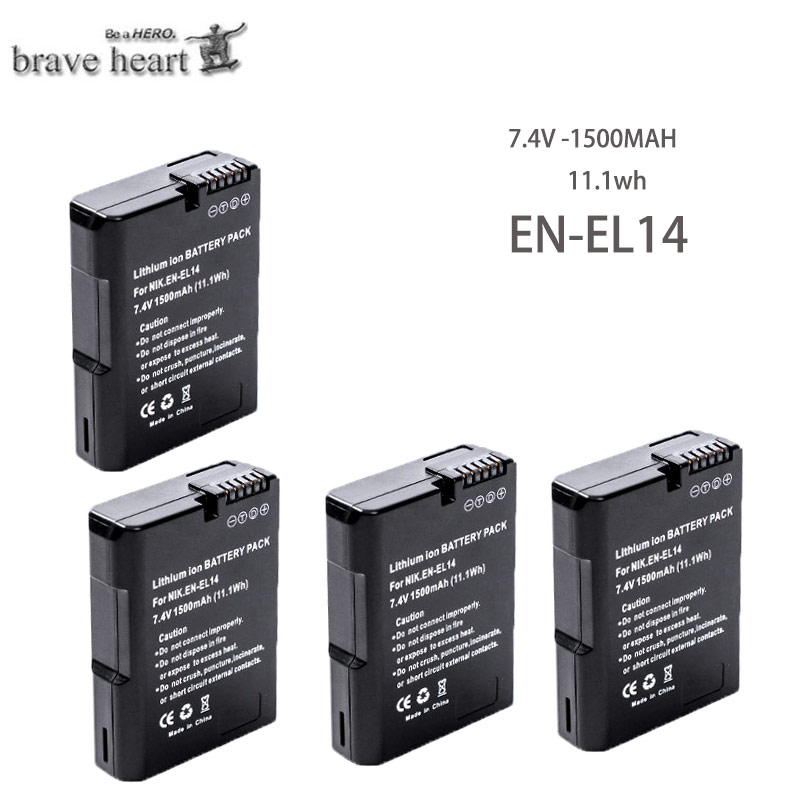 Battery-Pack EN-EL14 D3200 D5100 P7100 ENEL 1500mah for Nikon D3200/D5100/P7000/P7100 title=
